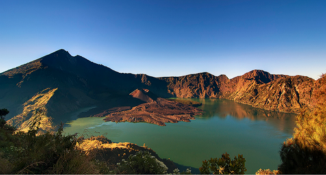 Beautiful view of Segara Anak Lake at Mount Rinjani
